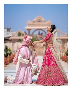 This bindass bride is telling us exactly how to rock your wedding photoshoot 😍 The pretty pink hues of the attires are truly making the… Indian Wedding Poses, Indian Wedding Couple Photography, Indian Bride And Groom, Indian Bridal, Indian Bride Poses, Bridal Photography, Bride Groom, Poses Pour Photoshoot, Bridal Photoshoot