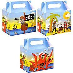 German-Trendseller ® - 8 x coffres à trésor de pirates avec poignée┃différents motifs assorti ┃pochette surprise┃l'île au trésor┃l'anniversaire d'enfant