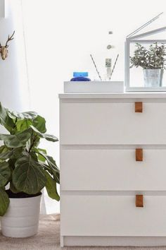 Ikea hack - Malm dresser with leather pulls via Poppytalk
