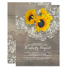 Rustic Sunflowers Wood Lace Bridal Shower Card #rusticbridalshowerinvitations #countrybridalshowerinvitations Barn Wedding Invitations, Sunflower Wedding Invitations, Engagement Party Invitations, Beautiful Wedding Invitations, Vintage Wedding Invitations, Rustic Invitations, Bridal Shower Invitations, Wedding Programs, Sunflower Weddings