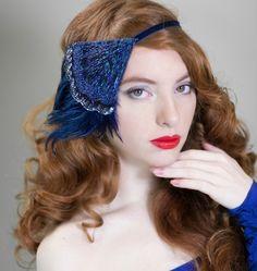Gatsby Headpiece, Blue Flapper Headband, 1920s Bridal Headpiece, Art Deco Headpiece, 20s Wedding Hair Accessories, 1920s Dress Headband by AdorningBeautyCo on Etsy https://www.etsy.com/listing/161767795/gatsby-headpiece-blue-flapper-headband