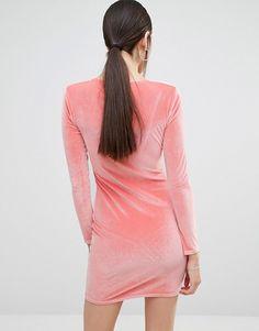 Boohoo   Boohoo Plunge Neck Velvet Bodycon Dress