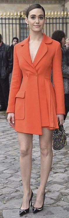 Emmy Rossum in Dior attends the Dior fall fashion show during Paris Fashion Week. #bestdressed