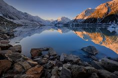 "<a href=""http://www.facebook.com/Danskie.Dijamco.Photography"">Follow me on Facebook</a>  No clouds, no problem - There's a mirror reflection to compensate this very impressive Tasman Glacier Lake.  Filters: Lee Little Stopper (6 stops) + Lee Graduated ND 0.6 Soft Edge"