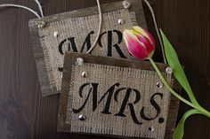 Mr and Mrs Wedding Chair Signs for Country Rustic Wedding - Reclaimed Wood & Burlap - hand stenciled and painted - Shabby Chic via Etsy  Visit & Like our Facebook page! https://www.facebook.com/pages/Rustic-Farmhouse-Decor/636679889706127