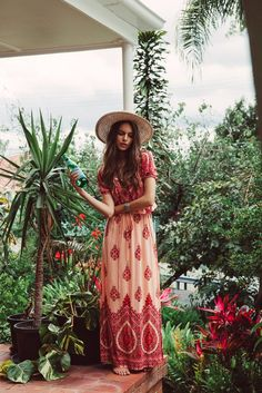 Mandala Maxi Dress in Peach