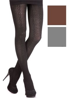 Plus Size cable knit tights XL 2x black-brow-grey