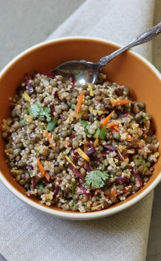 This Quinoa Lentil Salad with Ginger Curry Vinaigrette is a protein-packed, gluten free, and healthy salad that's perfect for lunch or a light dinner!