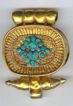 Gau gold oval full gold with vase motif in turquoise - 22 K Tibetan