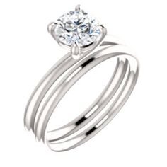 14kt White 6.5mm Round Engagement Ring Mounting #engagement #ring Locate a jeweler near you: http://www.stuller.com/locateajeweler/