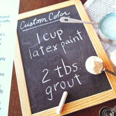 "DIY chalkboard paint in any color! As much as my son loves to write with chalk, maybe I'll paint this on the top of his desk, or even on the side of my pantry for our ""weekly menu"" or ""chore chart"""