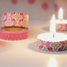 Add washi tape to tea light candles for a pop of color on your table.