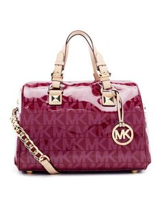 MICHAEL Michael Kors  Medium Grayson Patent Logo Satchel with Strap.