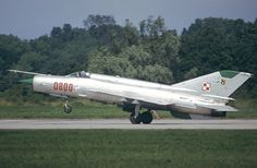 MiG-21 from the Polish Air Force takes off.