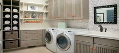 Home Design, Marvelous Home Design Around Home Design And Living Spaces Into Orange Accents Laundry Room Astonishing Laundry Room . Laundry Room Shelves, Laundry Room Cabinets, Basement Laundry, Laundry Room Design, Laundry Rooms, Mud Rooms, Gray Cabinets, Laundry Decor, Laundry Baskets