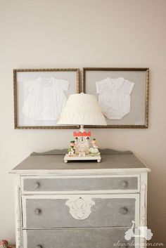 cute idea for displaying baby's coming home outfits