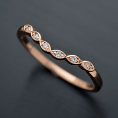 14KT curved White Pink or Yellow gold wedding by OscargamaJewelry