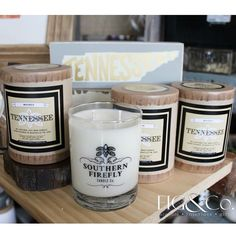 """New """"Tennessee"""" candles in stock...and the scent?  Whiskey!  They smell amazing burning  #butofcourse #southernfireflycandle #soycandles #nashville #knoxville #shoplocal #graduationgift #giftsandhomedecor #figandcompany by figandcompany"""