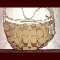 BNWT Coach handbag AUTHENTIC!! Signature Coach medium size hobo with silver accents. Brand new, never worn. Still has tags. Feel free to make an offer ☺️ Coach Bags Hobos