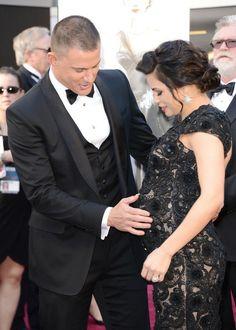 Channing Tatum, Jenna Dewan-Tatum cute Baby Bump in The Oscars 2013.  This is love....