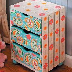 Riciclo creativo cassette della frutta - Cassetta della frutta con disegni