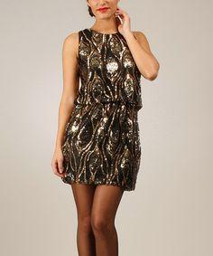 Look at this #zulilyfind! Black & Gold Peacock Blouson Dress by Baby Doll #zulilyfinds