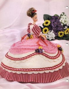 Annie's Glorious Gowns Flower Garden Violet Crochet Pattern 8802 Fashion Doll - Doll Clothing