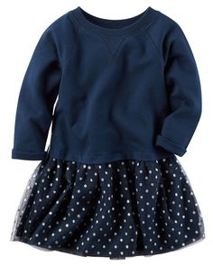 Toddler Girl Layered-Look French Terry Dress from Carters.com. Shop clothing & accessories from a trusted name in kids, toddlers, and baby clothes.