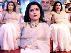 Ramya Krishnan Cream Saree