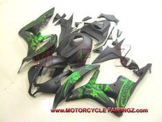 2007 2008 HONDA CBR600RR Motorcycle Fairing Green Skull FFKHD009