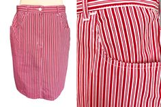 Cotton Red White Striped Nautical Sailor Summer Cruise Vacation Yacht City Break Denim Type Pencil Skirt w/ Pockets sz Large-XLarge Red And White Stripes, White Trim, Blue And White, Summer Cruise Outfits, Types Of Jeans, Power Dressing, City Break, Cruise Vacation, Sailor