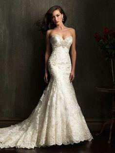 Corte a/princesa escote corazón cola corte encaje vestido de novia con bordado