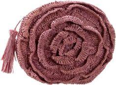 Mar Y Sol Maybelle Crochet Raffia Rose Clutch $79.00