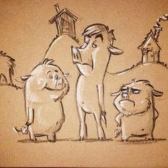 The three little pigs. #pigs #art #Wendy_Grieb #fairytale ##sketch #sketchbook