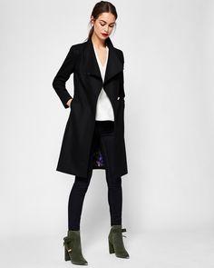 Cashmere-blend wrap front coat - Black | Jackets And Coats | Ted Baker