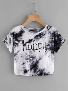 SheIn offers Water Color Letter Print Tee & more to fit your fashionable needs. SheIn offers Water Color Letter Print Tee & more to fit your fashionable needs. Girls Fashion Clothes, Teen Fashion Outfits, Outfits For Teens, Clothes Women, Cute Comfy Outfits, Cute Girl Outfits, Stylish Outfits, Cute Crop Tops, Crop Top Shirts