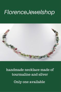 Multicolor green, pink, red, silver gemstone beaded necklace / choker, (hand)made of tourmaline and silver tubes, finished with a toggle clasp. This necklace weighs less than 50 gram and is ideal for women with problems with their back, neck or shoulders. You can wear this necklace on any occasion and it will look great on any color clothing. ? 115. Learn more:  www.etsy.com/...