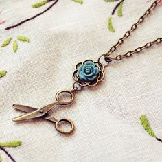 Tiny Scissors Necklace with Blue Rose by DearDelilahHandmade