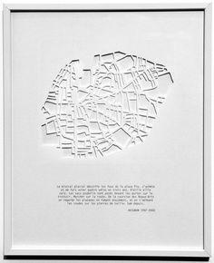 Sub Navigation 4.1: paysages courbes 4.2: river-roots Current page is 4.3: les villes en creux 4.4: squelette étoiles 4.5: tout bien rangé 4.6: le monde rangé 4.7: aphrodite 4.8: oiseaux en cage 4.9: flore 4.11: les pour toujours les villes en creux. 20 découpages de ville et textes en impressions numériques, 24cm x 30 cm