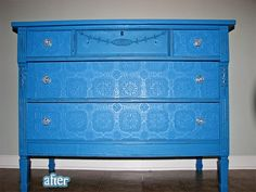 Cover over chipped veneer with paintable wallpaper...wish I had thought of it before painting the dresser.