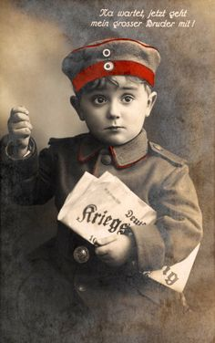 A German patriotic postcard encouraging enlistment featuring a little boy in a soldier's uniform holding a newspaper