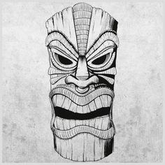 Tiki Drawings Illustration | Tiki mask longboard