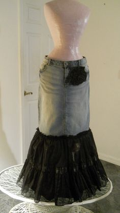 Sirène Noire jean skirt black tulle mermaid goddess pink silk bohemian Renaissance Denim Couture Made to Order