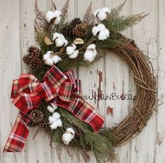 The Cotton Christmas Grapevine Wreath by BlueMountainBurlap