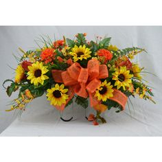 No.5020 Fall Cemetery Arrangement Sun Flower Saddle Headstone Saddle... ($40) ❤ liked on Polyvore featuring home, home decor, floral decor, black, home & living, fall silk arrangements, fall flower arrangement, black home decor, silk floral arrangement and artificial flower stems