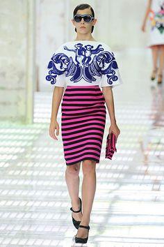 Skirt - Stripes - Pink Black - Top - Monkeys - Prada Spring 2011 RTW (NY)