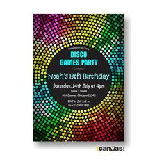 Disco Dance Party Birthday Invitation. Girls Dance by 800Canvas