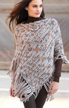 Free Knitting Pattern for Punto Poncho - This easy fringed poncho from Texyarns is a quick knit in super bulky yarn.