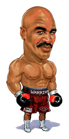 """This article documents the great boxer, Evander"""" The Real Deal"""" Holyfield. Holyfield is the former Cruiserweight and four Time Heavyweight Champion of the World. Funny Caricatures, Celebrity Caricatures, Cartoon Faces, Funny Faces, Cartoon Art, Larry Holmes, George Foreman, Cartoon Sketches, Sports Figures"""