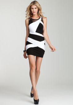 bebe | Celia Colorblock Ponte Dress - Cocktail Dresses